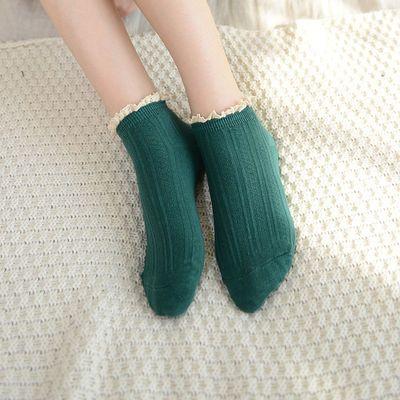日系纯色翻边加绒不起球袜子女冬季新品韩版加厚保暖女生中筒袜
