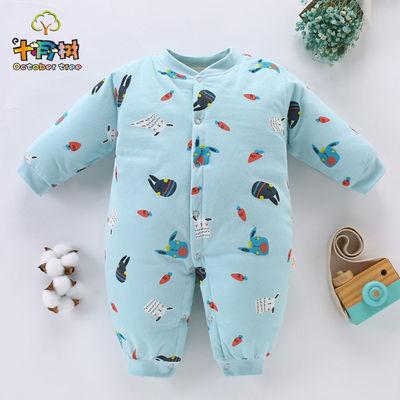 新生儿衣服秋冬季婴儿连体衣加厚0到3个月6宝宝保暖衣纯棉套装12