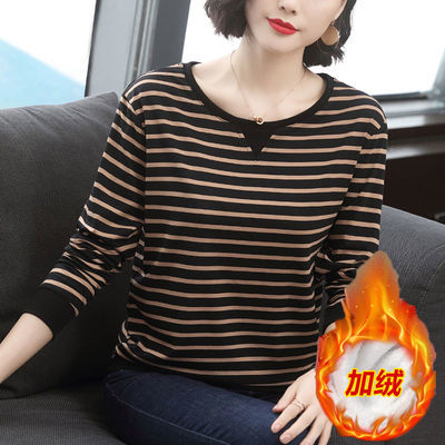 【95棉】200斤加绒加厚长袖t恤女大码新款条纹百搭宽松打底衫上衣