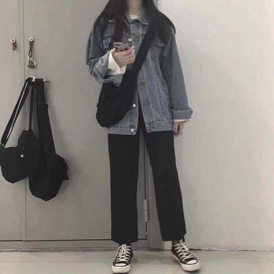 西装裤女韩版宽松学生直筒裤子秋季新款高腰阔腿裤九分黑色休闲裤