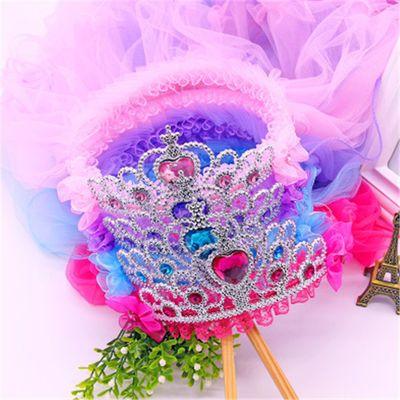 韩式皇冠花环头饰公主大披沙头纱小女孩婚纱礼服配饰表演发箍批发