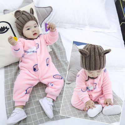 新生儿三层保暖连体衣开档初生宝宝加厚婴儿装小宝宝卡通夹棉衣服