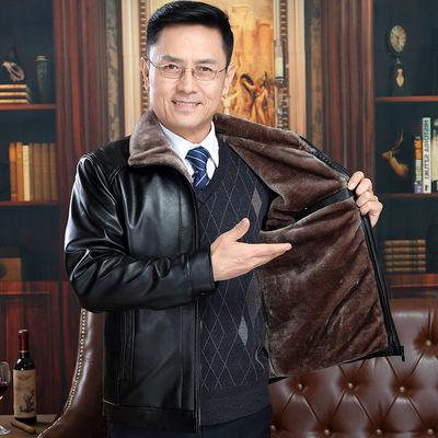 中年男士皮衣加绒加厚男休闲皮夹克宽松大码外套爸爸装