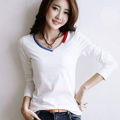 新品/2019/特卖用/分割【双十二特价】V领白色长袖T恤女装简约修