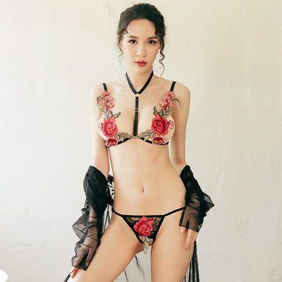 性感透明印花三点情趣内衣1639rq钢管舞热舞服涤纶均码柔情天使