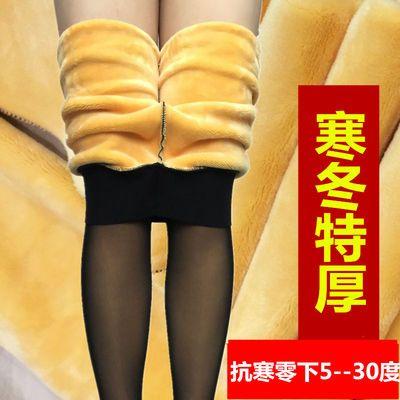 特厚寒冬假透肉打底裤女保暖裤透肤色加绒加厚网纱踩脚大码外穿