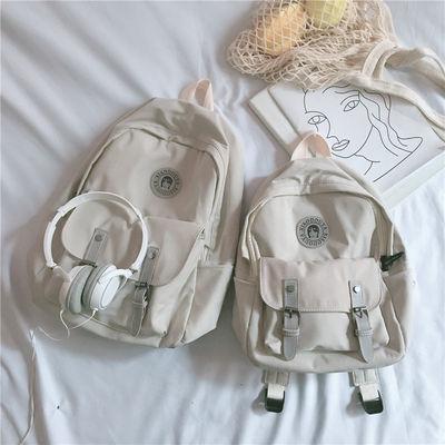 工装书包女ins复古日系学院风高中学生双肩包森系百搭旅行小背包