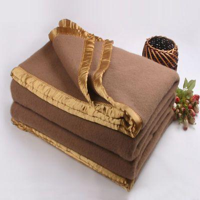 酒店宾馆专用毛毯床上用品秋冬用加厚单层纯羊毛毯子单双人保暖被