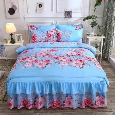 韩版加厚床裙四件套被套床罩磨毛像全棉纯棉结婚庆单双人床上用品