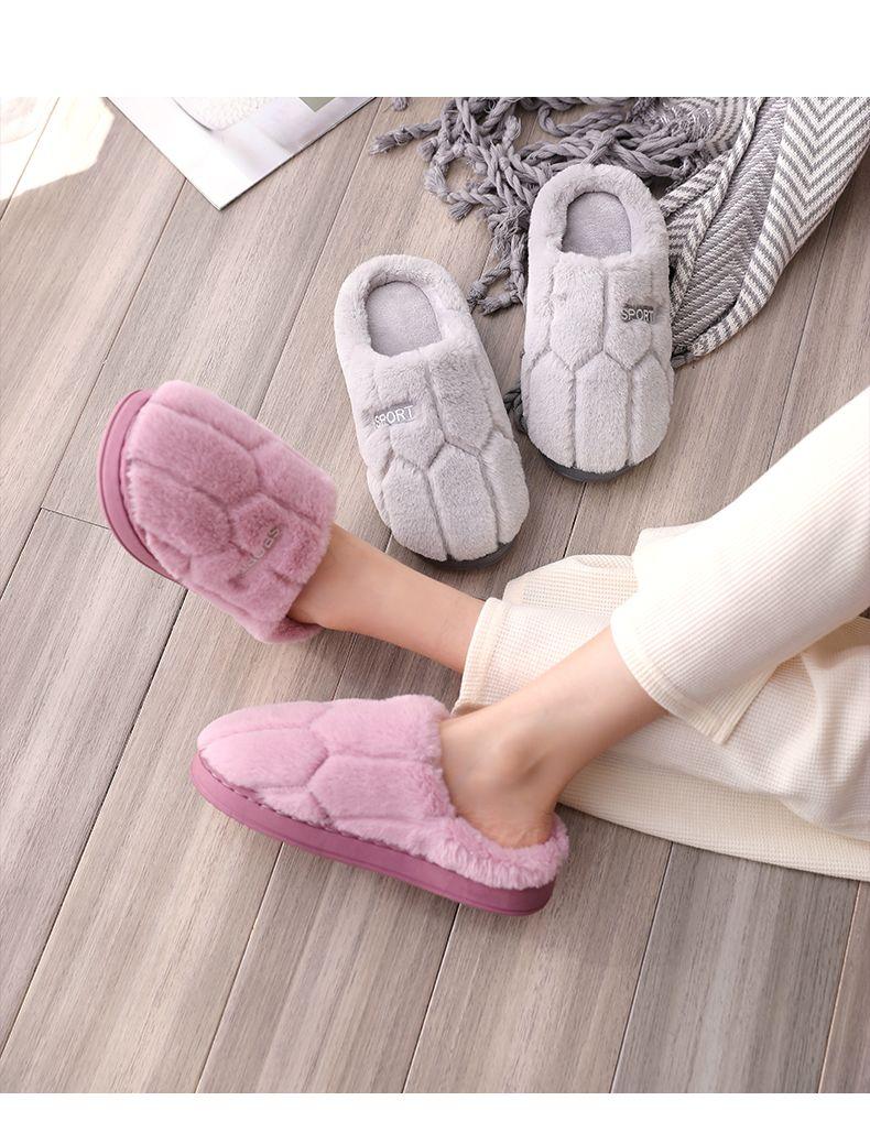【棉拖鞋女秋冬季家用】室内防滑厚底情侣款毛毛女士学生韩版拖鞋男士