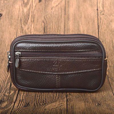 6.3寸男士穿皮带手机腰包 真皮包包 外挂袋 工地户外横款牛皮袋