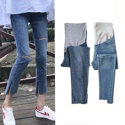 新款韩国孕妇装春秋款时尚破洞孕妇牛仔裤 微喇 托腹小脚九分裤子