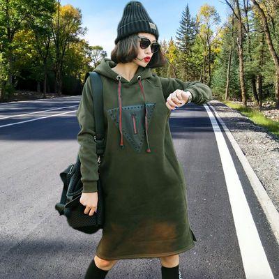 2019秋冬新款韩版女装宽松中长款加绒加厚长袖卫衣女潮ins外套