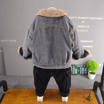 童装新款外衣儿童柔软纯棉牛仔加绒加厚夹克男童宝宝保暖外套韩版
