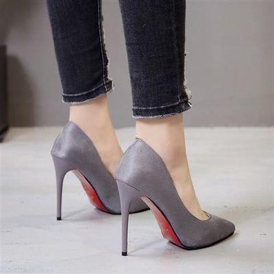 超高跟性感尖头细跟浅口高跟鞋职业磨砂黑色ol工作鞋特大码单鞋女