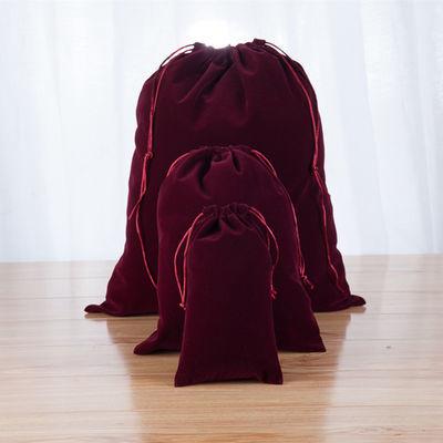 可定制印刷logo酒红色绒布束口袋衣物整理袋抽绳布袋内衣收纳袋