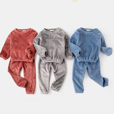 男童家居服套装冬装珊瑚绒3岁儿童加绒两件套4保暖衣女童睡衣秋冬