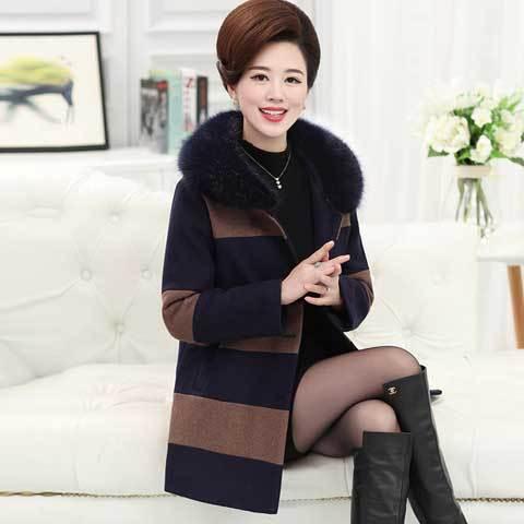 单/加棉中老年女装秋装妈妈装冬装毛呢外套60岁中老年人女厚外套