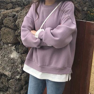 加绒加厚假两件套卫衣秋冬季女生韩版宽松中长款女学生潮版上衣女