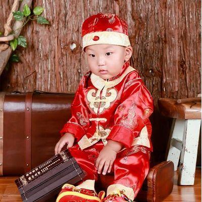 宝宝一周岁衣服男童抓周礼服女婴儿儿童唐装百天生日秋冬拜年套装