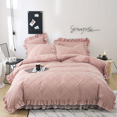 100%全棉被套纯棉床罩式韩版床上用品公主风防滑床裙四件套秋冬季