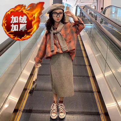 儿童女童秋装套装2019秋冬季新款韩版中大童女孩纯棉三件套半身裙
