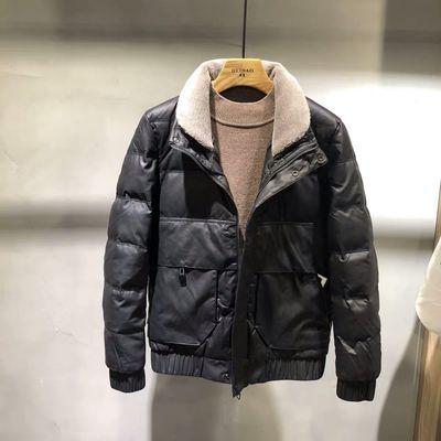 外套男冬季新款立领皮棉衣韩版潮流羊羔毛领加厚保暖棉皮衣夹克男