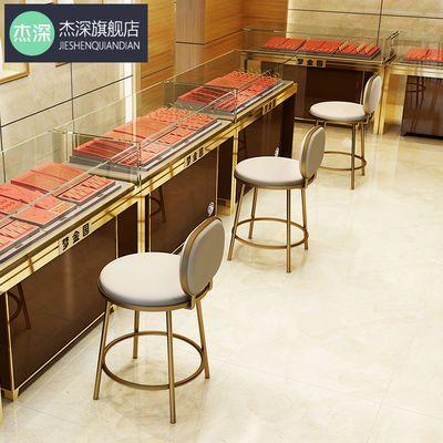 现代吧台椅靠背柜台凳北欧珠宝店专用凳简约前台收银高脚酒吧椅子