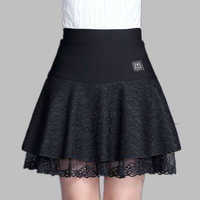秋冬百搭短裙蕾丝半身裙女大码松紧高腰打底裙a字裙百褶裙蓬蓬裙