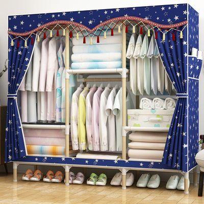 简易衣柜实木加固无纺布衣柜收纳架衣橱组装单双人柜子折叠挂衣架