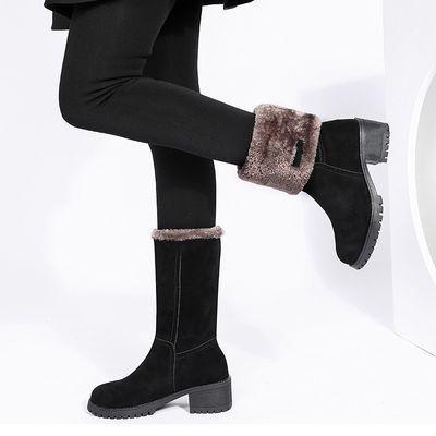 靴子女冬2020新款雪地靴女磨砂中筒加绒加厚短靴防水防滑保暖棉鞋