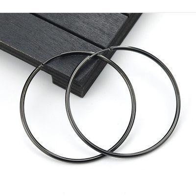 时尚钛钢圆形耳环女耳扣大耳圈不褪色韩版个性夸张耳坠防过敏饰品