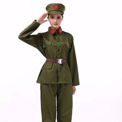 粗布棉麻成人红军演出服衣服八路军新四军舞台舞蹈长征服装大人