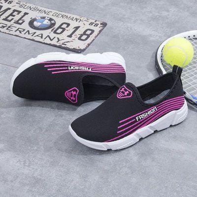 春秋单鞋女鞋一脚蹬休闲运动鞋女士老北京布鞋学生跑步鞋透气网鞋