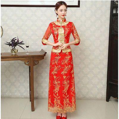 新款爆款新娘敬酒服旗袍秀禾服中式婚纱礼服红色长修身款嫁衣大婚