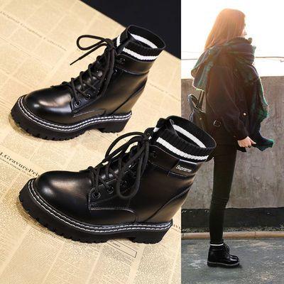 网红春季厚女鞋2020新款百搭加绒马丁靴女英伦风瘦瘦短靴