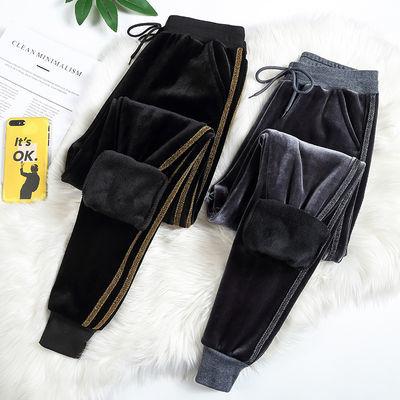 加绒/不加绒加厚丝绒运动裤女冬季保暖BF风哈伦裤休闲裤卫裤长裤