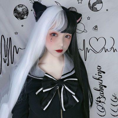 朋克哥特风假发女长直发黑白两色空气刘海渐变欧美lolita阴阳头套