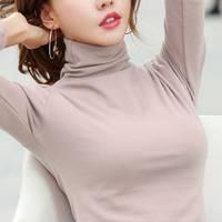 加绒加厚高领打底衫女长袖纯色秋冬韩版女装保暖修身t恤女棉上衣