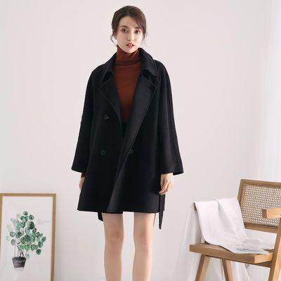 曼向 2019新品秋冬基础腰带纯色双面零羊绒大衣羊毛呢子外套