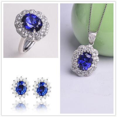 【蓝宝石】天然石吊坠项链女镶锆石活口戒指可调节指环银耳钉套装
