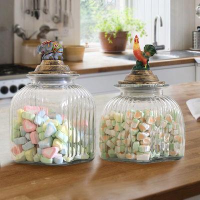 美式玻璃密封储物罐酵素酿酒带盖泡菜坛杂粮蜂蜜柠檬罐样板间装饰
