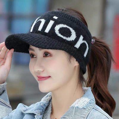 帽子女冬季韩版学生针织毛线帽无顶帽秋鸭舌帽女保暖加绒空顶帽子