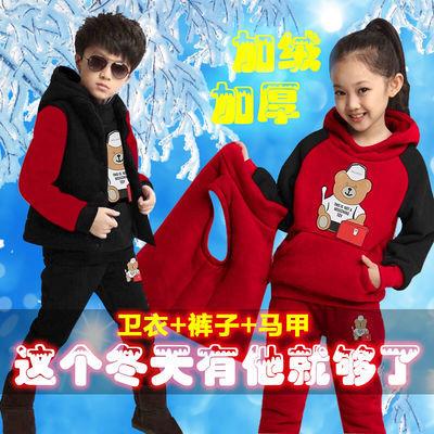 女童秋冬套装2019新款儿童洋气小女孩冬季加绒加厚卫衣三件套
