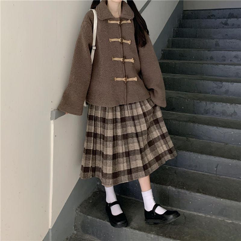 秋冬新款日系韩版学生复古格子半身裙子女装高腰显瘦格子裙中长款【2月8日发完】