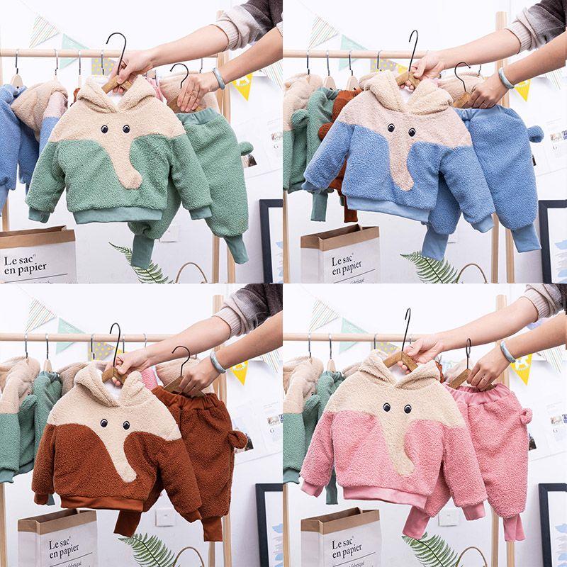 女童套装冬季三层夹棉加厚套装中小童1-6男童套装加绒两件套洋气