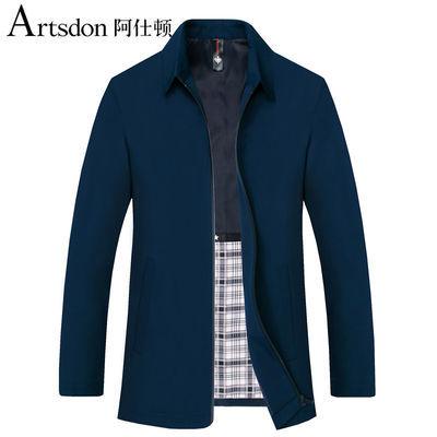 阿仕顿夹克男200斤可穿秋季中年男士商务休闲纯色翻领夹克外套
