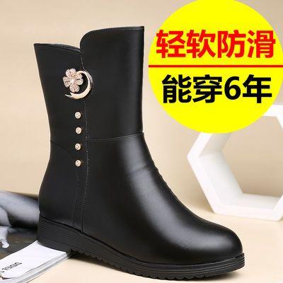 妈妈靴子女秋冬季棉鞋平底加绒真皮软底防滑中老年中年中筒靴女鞋