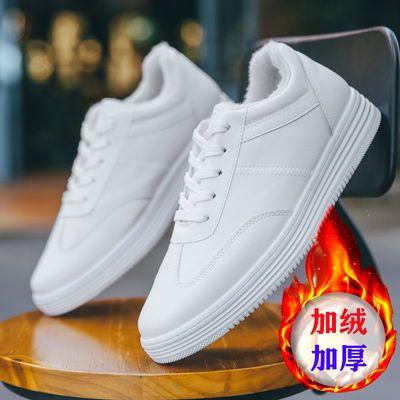 小白鞋男秋冬棉鞋加绒白色板鞋男士青年学生防滑运动休闲保暖男鞋