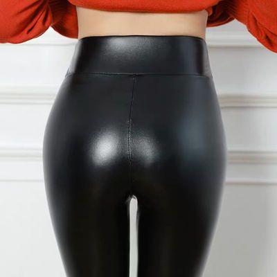 哈伦皮裤女宽松版PU皮小个子加绒加厚束脚裤工装高腰九分皮裤外穿